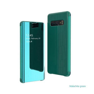 The fourth generation of electroplated mirror smart flip phone case for Samsung S8/S8 Plus/S9/S9 Plus/S10/S10 E/S10 Plus/NOTE8/NOTE9 phone case Rubili green SAMSUNG S8
