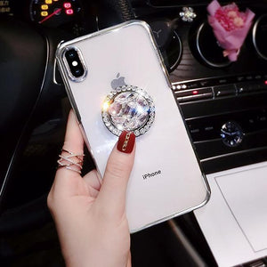 2019 new fashion luxury flash diamond bracket case for iPhone phone case Rubili silver IPHONE XS MAX