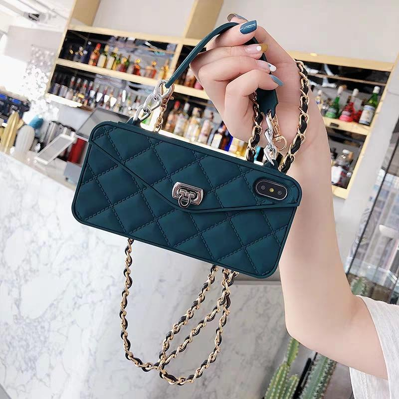 High Quality Crossbody Leather Bundle Phone Case for iPhone(Free Long Chain) phone case articleunion navy blue IPHONE XS MAX
