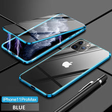 Load image into Gallery viewer, Upgrade Two Side Tempered Glass Magnetic Adsorption Phone Case For IPHONE phone case bytopone blue IPHONE 11 PRO MAX