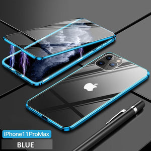 Upgrade Two Side Tempered Glass Magnetic Adsorption Phone Case For IPHONE phone case bytopone blue IPHONE 11 PRO MAX