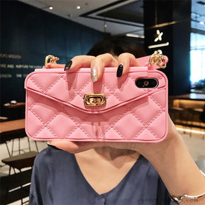 High Quality Crossbody Leather Bundle Phone Case for iPhone(Free Long Chain) phone case articleunion pink IPHONE XS MAX