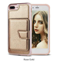 Load image into Gallery viewer, Premium quality luxury PU leather phone case with credit-card-slot for iPhone phone case Rubili gold IPHONE XS MAX