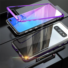 Load image into Gallery viewer, Magnetic Adsorption Transparent Tempered Glass Two side Glass Cover Phone Case For Samsung phone case Article union BLACK & PURPLE SAMSUNG S10