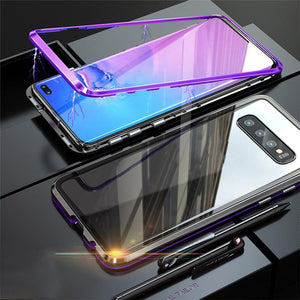 Magnetic Adsorption Transparent Tempered Glass Two side Glass Cover Phone Case For Samsung phone case Article union BLACK & PURPLE SAMSUNG S10