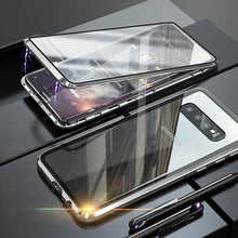 Load image into Gallery viewer, Magnetic Adsorption Transparent Tempered Glass Two side Glass Cover Phone Case For Samsung phone case Article union silver SAMSUNG S10