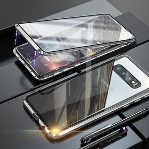 Magnetic Adsorption Transparent Tempered Glass Two side Glass Cover Phone Case For Samsung phone case Article union silver SAMSUNG S10