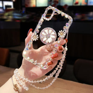 2019 New Style Luxury Flash Pearl Flower Airbag Bracket Phone Case