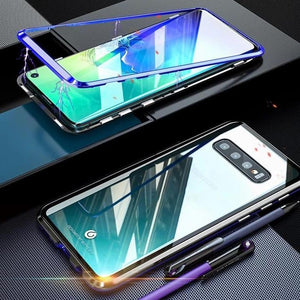 Magnetic Adsorption Transparent Tempered Glass Two side Glass Cover Phone Case For Samsung phone case Article union BLACK & BLUE SAMSUNG S10