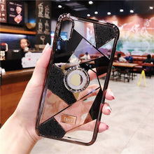 Load image into Gallery viewer, Luxury three-piece diamond ring bracket case for iPhone phone case Rubili black IPHONE XS MAX