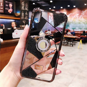 Luxury three-piece diamond ring bracket case for iPhone phone case Rubili black IPHONE XS MAX