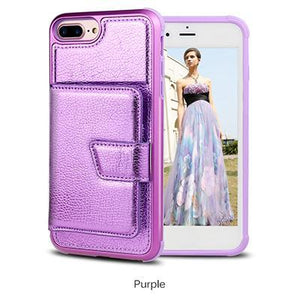 Premium quality luxury PU leather phone case with credit-card-slot for iPhone phone case Rubili purple IPHONE XS MAX