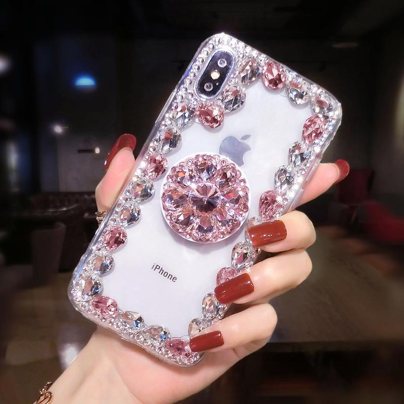 2019 Hot Selling Luxury Fashion Airbag Diamond Kickstand Phone Case for iPhone phone case Article union pink IPHONE XS MAX