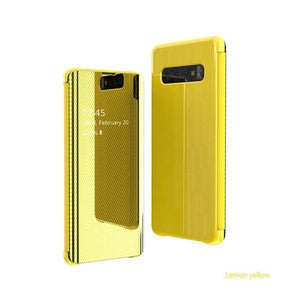 The fourth generation of electroplated mirror smart flip phone case for Samsung S8/S8 Plus/S9/S9 Plus/S10/S10 E/S10 Plus/NOTE8/NOTE9 phone case Rubili yellow SAMSUNG S8