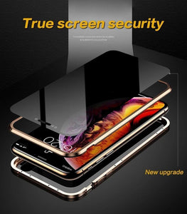Anti-Peeping Privacy Magnetic Adsorption Two Side Tempered Glass Phone Case For iPhone phone case articleunion
