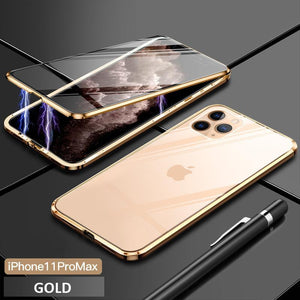 Upgrade Two Side Tempered Glass Magnetic Adsorption Phone Case For IPHONE phone case bytopone gold IPHONE 11 PRO MAX