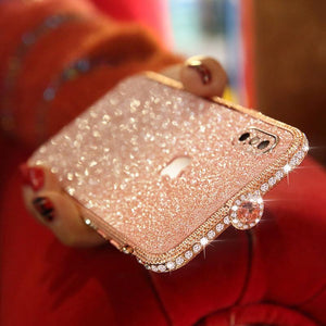Crystal bling Anti-fall border case for IPHONE(Free Bling Crystal IPhone Film) phone case articleunion Rose gold IPHONE XS MAX