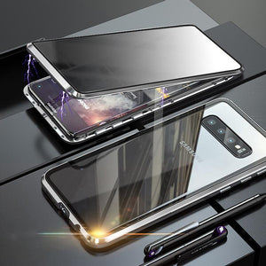 Anti-Peeping Privacy Magnetic Adsorption Two Side Tempered Glass Phone Case For Samsung Series phone case Article union silver SAMSUNG NOTE8