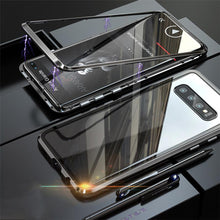 Load image into Gallery viewer, Magnetic Adsorption Transparent Tempered Glass Two side Glass Cover Phone Case For Samsung phone case Article union black SAMSUNG S10