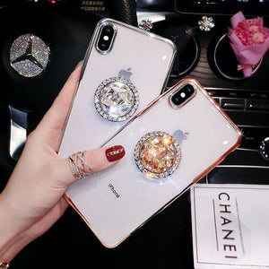 2019 new fashion luxury flash diamond bracket case for iPhone phone case Rubili gold IPHONE XS MAX