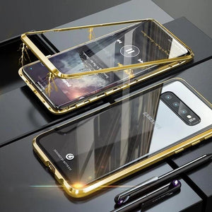 Magnetic Adsorption Transparent Tempered Glass Two side Glass Cover Phone Case For Samsung phone case Article union gold SAMSUNG S10