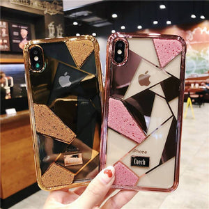 Luxury three-piece diamond ring bracket case for iPhone phone case Rubili