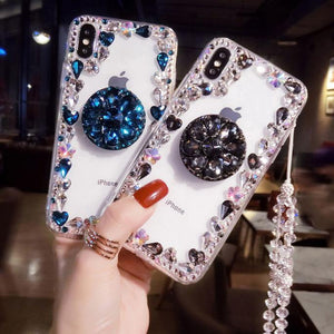 2019 New Style Luxury Flash Diamond Airbag Bracket Phone Case