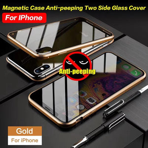 Anti-Peeping Privacy Magnetic Adsorption Two Side Tempered Glass Phone Case For iPhone phone case articleunion gold IPHONE XS MAX