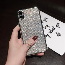 Load image into Gallery viewer, Luxury Plating Metal Rhinestone Glitter Bling Case for iPhone phone case Rubili silver IPHONE XS MAX