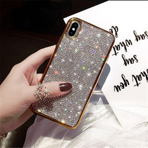 Luxury Plating Metal Rhinestone Glitter Bling Case for iPhone phone case Rubili gold IPHONE XS MAX
