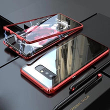 Load image into Gallery viewer, Magnetic Adsorption Transparent Tempered Glass Two side Glass Cover Phone Case For Samsung phone case Article union red SAMSUNG S10