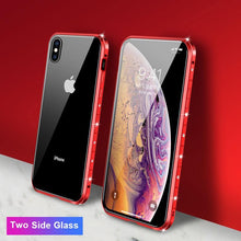 Load image into Gallery viewer, Magnetic Adsorption Diamond Bling Border Transparent Tempered Glass Phone Case For iPhone phone case Rubili red Two Side Glass IPHONE XS MAX
