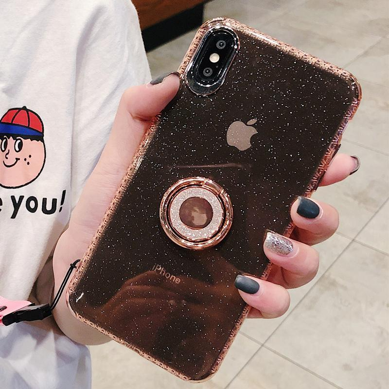 Luxury Anti-fall Glitter Powder ring bracket case for iPhone phone case Rubili pink IPHONE XS MAX