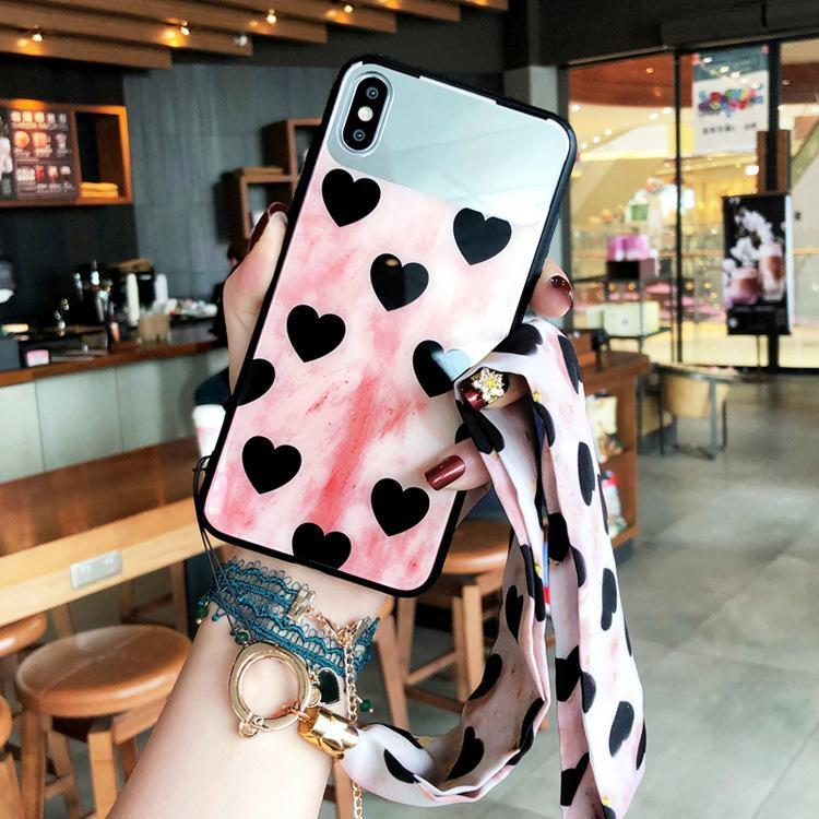 Real Mirror Tempered Glass Phone Case For iPhone phone case Rubili pink IPHONE XS MAX