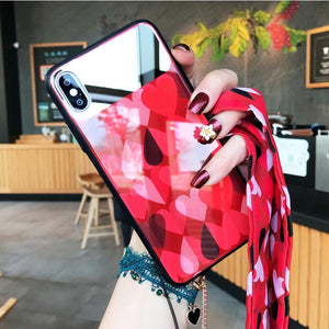 Real Mirror Tempered Glass Phone Case For iPhone phone case Rubili red IPHONE XS MAX