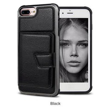 Load image into Gallery viewer, Premium quality luxury PU leather phone case with credit-card-slot for iPhone phone case Rubili black IPHONE XS MAX