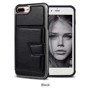 Premium quality luxury PU leather phone case with credit-card-slot for iPhone phone case Rubili black IPHONE XS MAX