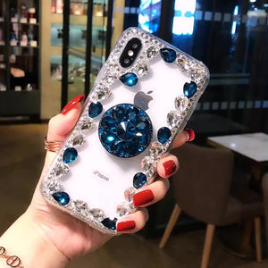 2019 Hot Selling Luxury Fashion Airbag Diamond Kickstand Phone Case for iPhone phone case Article union blue IPHONE XS MAX