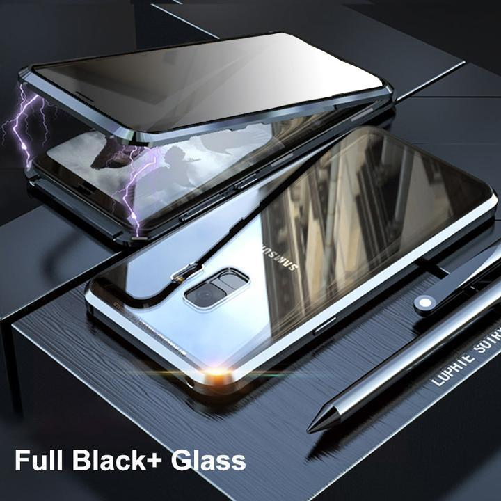 Anti-Peeping Privacy Magnetic Adsorption Two Side Tempered Glass Phone Case For Samsung S9 S9 Plus phone case Article union black SAMSUNG S9PLUS