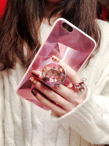 2019 New Fashion Mirror Flash Diamond Airbag Bracket Mobile Phone Case For iPhone phone case Rubili pink IPHONE XS MAX