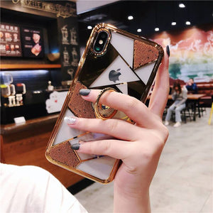 Luxury three-piece diamond ring bracket case for iPhone phone case Rubili gold IPHONE XS MAX