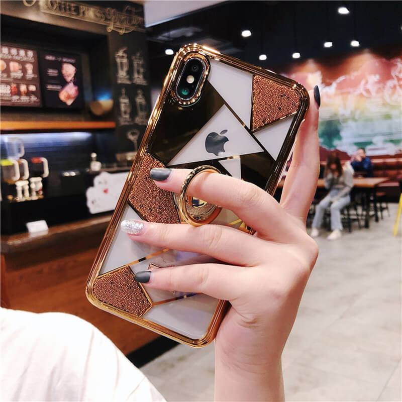 Luxury three-piece diamond ring bracket case for iPhone