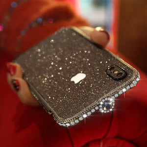 Crystal bling Anti-fall border case for IPHONE(Free Bling Crystal IPhone Film) phone case articleunion Noble black IPHONE XS MAX