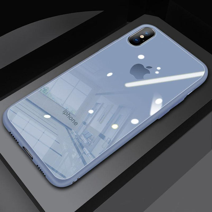 (Christmas Special) New Style Original Liquid Silicone Frame Tempered Glass Cover Phone Case For iPhone phone case articleunion blue IPHONE XS MAX