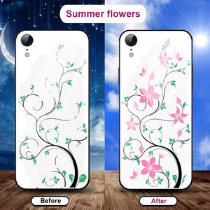 Flowering when exposed to UV Rays, new technology tempered glass phone case for iPhone phone case Article union summer flowers IPHONE XS MAX