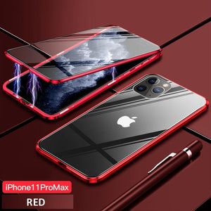 Upgrade Two Side Tempered Glass Magnetic Adsorption Phone Case For IPHONE phone case bytopone red IPHONE 11 PRO MAX