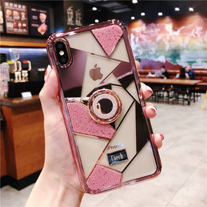 Luxury three-piece diamond ring bracket case for iPhone phone case Rubili pink IPHONE XS MAX