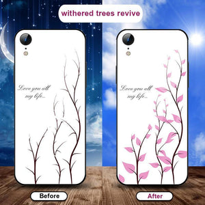 Flowering when exposed to UV Rays, new technology tempered glass phone case for iPhone phone case Article union withered trees revive IPHONE X/XS