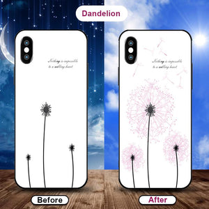 Flowering when exposed to UV Rays, new technology tempered glass phone case for iPhone phone case Article union dandelion IPHONE XS MAX