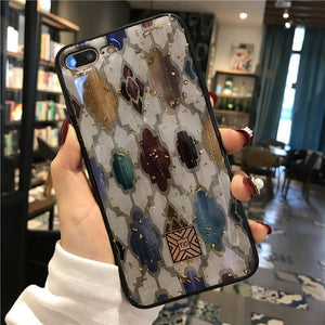 Luxury Vintage Platinum Glitter Phone Case for iPhone phone case articleunion white IPHONE X/XS